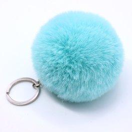 Sleutel/tas hanger met pluizenbol - Blauw