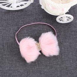 Elastische haarband bont strik - Roze