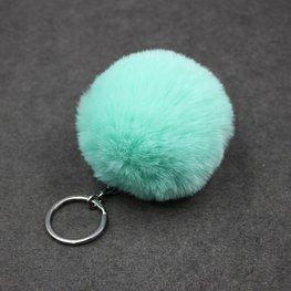Sleutel/tas hanger met pluizenbol - Groen