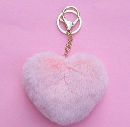 Sleutel/tas hanger pluis hart  - Licht roze