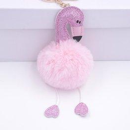 Sleutel/tas hanger flamingo glitter - Licht roze