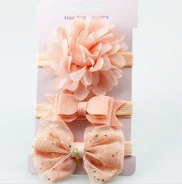 Elastische baby/kinder haarbanden  set van 3 stuks - zalm roze