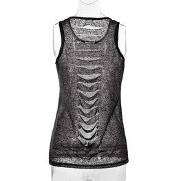 Doorschijnend topje/shirt zwart maat S