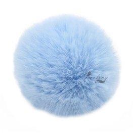 Sleutel/tas hanger met pluizenbol - licht Blauw
