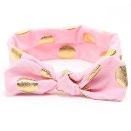 Baby/kinder haarband met gouden stippen - Roze