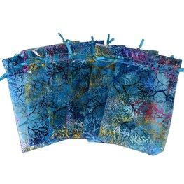 Organza zakje blauw met gekleurde print