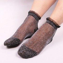 Glitter sokjes zwart/zilver