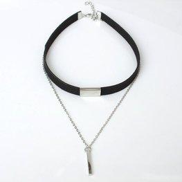 Choker met ketting - Zwart/zilver
