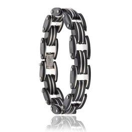 Heren schakel armband zwart/zilver