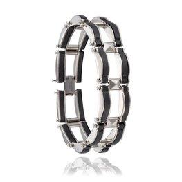 Brede Heren schakel armband zwart/zilver