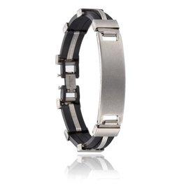 Heren schakel armband zwart/zilver met plaatje