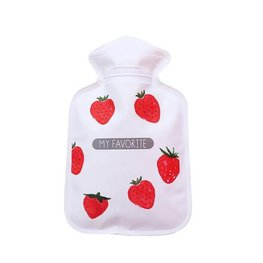 Handwarmer / mini kruik - Aardbeien/wit
