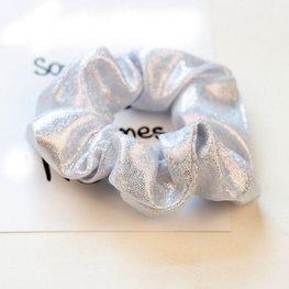 Scrunchie metallic glitter zilver