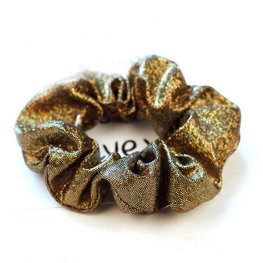 Scrunchie metallic glitter goud