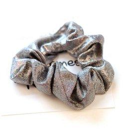 Scrunchie metallic glitter grijs