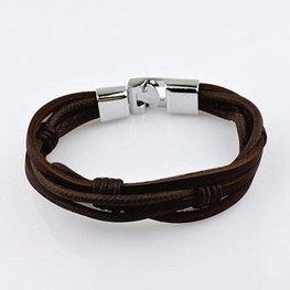 Heren armband   - Bruin/zilver
