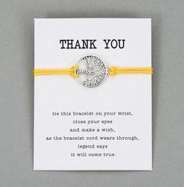 Giftcard met armband thank you - Geel