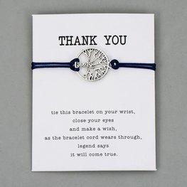 Giftcard met armband thank you - Blauw