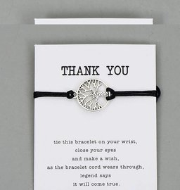 Giftcard met armband thank you - Zwart
