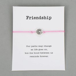 Giftcard met armband friendship - Roze