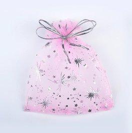 Organza zakje zilveren sterren print - Roze