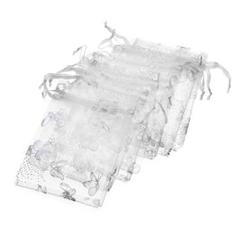 Organza zakje zilveren vlinder print - wit