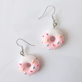 Oorbellen donut roze