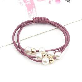 Haar elastieken met kralen set/2  - Paars