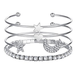 Bangle armbanden set/4  maan/ster zilver