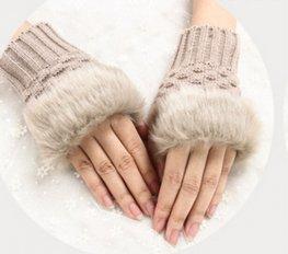 Handschoenen bont - Beige bruin