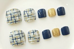 Nep teen nagels - Blauw/Goud