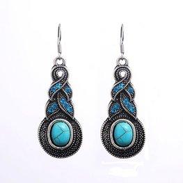 Oorbellen zilver/turquoise