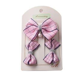 Setje haar elastiekjes plus speldje - Roze