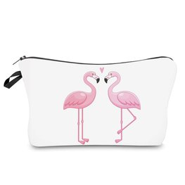 Make-up tasje flamingo wit