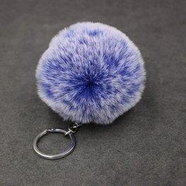Sleutel/tas hanger met pluizenbol - Blauw gemeleerd