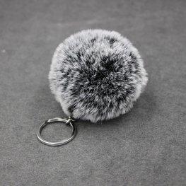 Sleutel/tas hanger met pluizenbol - Zwart gemeleerd