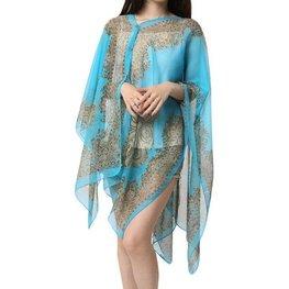 Zomer poncho/sjaal/omslagdoek - Blauw