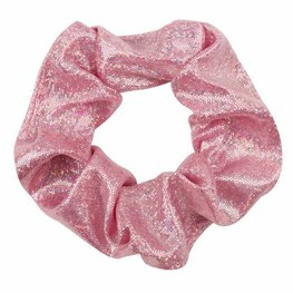 Scrunchie metallic glitter -Roze