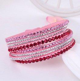 Strass wikkelarmband - roze