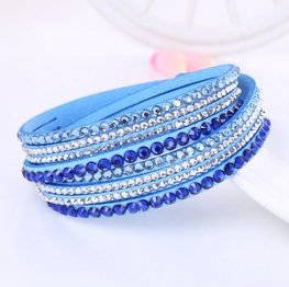 Strass wikkelarmband - Blauw