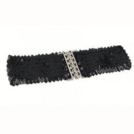 Elastische Pailletten riem - Zwart