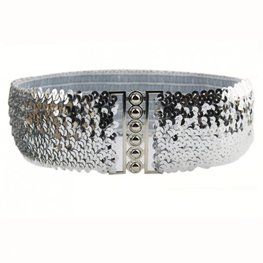 Elastische Pailletten riem - Zilver