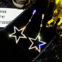 Lange oorbellen star -Goud