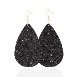 Ovalen glitter oorbellen - Zwart