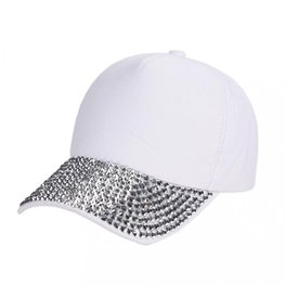Cap/pet zilveren studs - Wit
