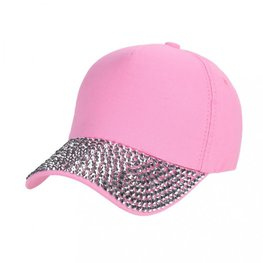 Cap/pet  zilveren studs - Roze