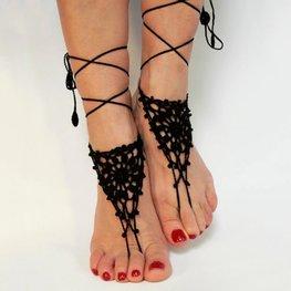 Barefoot sandels  gehaakt - zwart