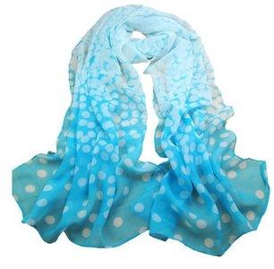 dunne sjaal , blauw met witte stippen