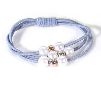 Haar elastiek blauw met kralen