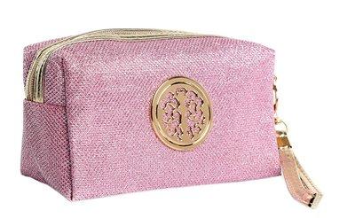 Glitter make up tasje roze met gouden details